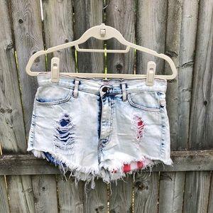 [Vibrant MIU] flag pocket distressed shorts L